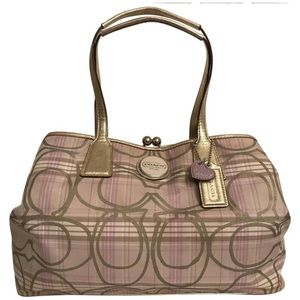 Coach Tartan Carryall Plaid Signature logo Leather